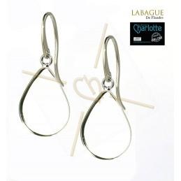 Earrings steel Fashion rond 24mm Rhodium