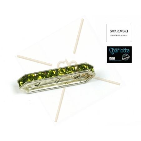 Swarovski barette rhodium 18mm 3-trous pp19 Olivine