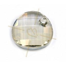 cabochon bead 2-hole 6mm Jet Bronze