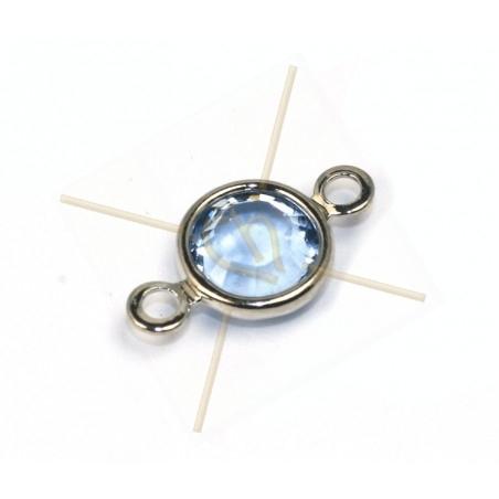 Swarovski strass 14mm SS29 sertie 2 anneau Rhodium - Sapphire