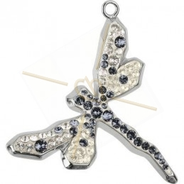 pendentif Swarovski libelle 18mm silver night rhodium