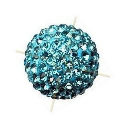 boule de strass 14mm aquamarine