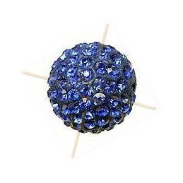 ronde strassbal 16mm koningsblauw