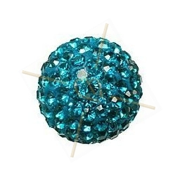 ronde strassbal 16mm Turquoise