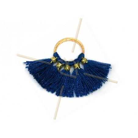 floche synth. 30*20mm op ring 10mm blauw / gold