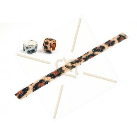 Swarovski Crystal Fabric 10mm Leopard zwart/bruin 17cm