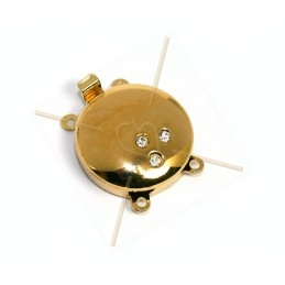 slot rond met strass 2-rangs Gold Plated