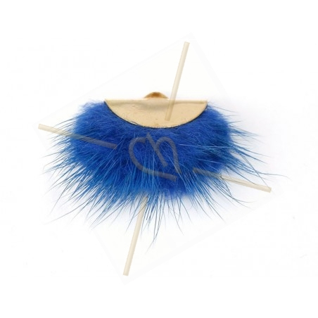 floche synth. pompon +/- 40mm blauw / gold
