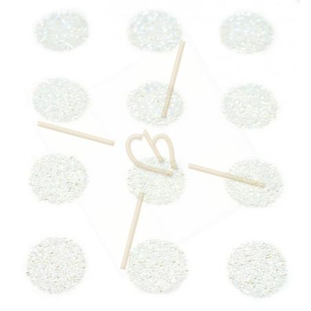 12 x Pastille 15mm rond Swarovski Crystal Fabric-it Moonlight