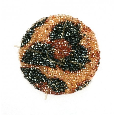 Pastille 24mm rond Swarovski Crystal Fabric-it Golden Shadow Leopard