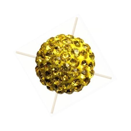 ronde strassbal 10mm geel