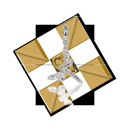 pendentif Swarovski libelle 18mm Crystal rhodium