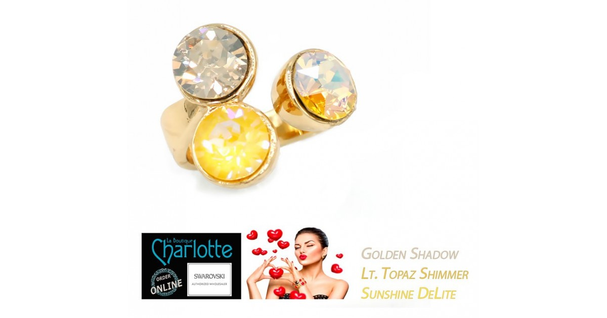 Ring Adjustable Gold Plated with 3 SS39 Swarovski trio Yellow