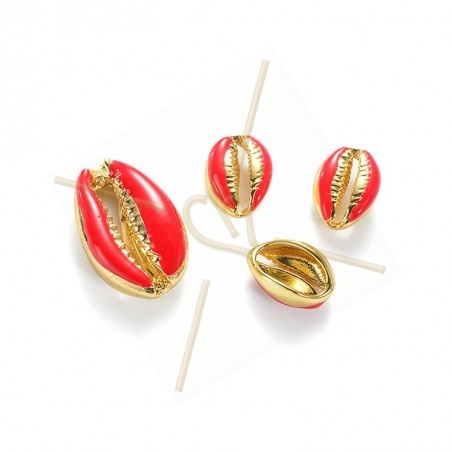 Coquillage Shell beads 10mm Red