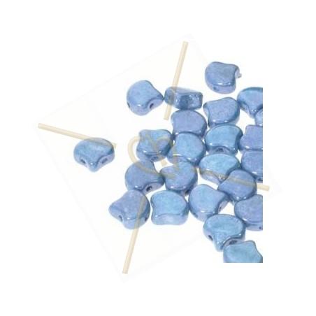 Ginko Duo Bead glassbead 2 holes 7.5mm Chalk Blue Luster