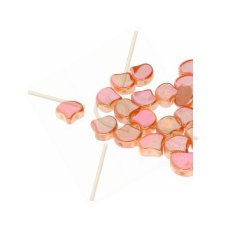 Ginko Duo Bead glassbead 2 holes 7.5mm Chalk Full Abricot