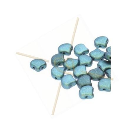 Ginko Duo Bead glassbead 2 holes 7.5mm Polychrome Mint Chocolate
