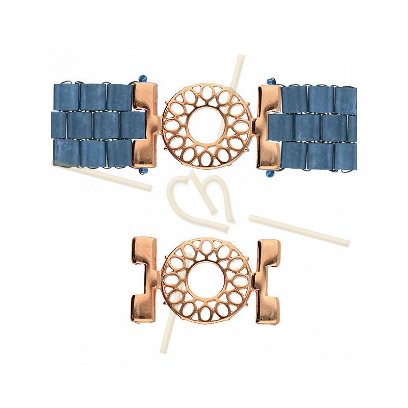 Cymbal Connector Rose Gold plated  - DETIS - for Miyuki Tila, Half Tila, Quart TilaCYM-TL012611-RG