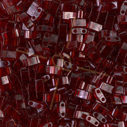 Half Tila Miyuki 5*2mm Dark Red Transparant Ab HTL-304