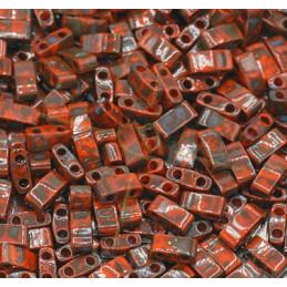 Half Tila Miyuki 5*2mm Orange Opaque Picasso HTL-4520